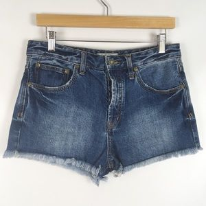 FREE PEOPLE | high rise Button fly cutoff short